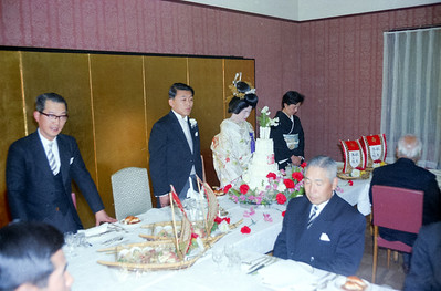 Tom, Nanae wedding with Mr. Endo, Pres of TEL sitting foreground at table-1966