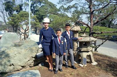 Mom, Emile and Ron Grad Day at St Mary's Intl. School, Azabu, Tokyo, Japan 1966