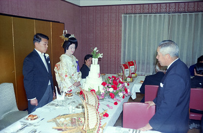 Mr Endo, President of TEL, a very fine gentleman! addressing Tom and Nanae at  their wedding celebration--Tokyo 1966