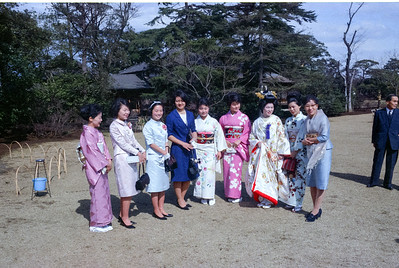 Pretty ladies and bride at Kodaka wedding, Tokyo-1966
