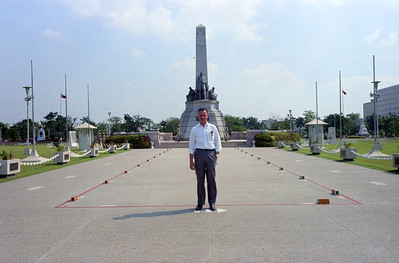 Del Aquila at military monument, Rizal Park, Manila, Philippine Islands-1966