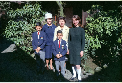 Martha, Ron & Emile with two teachers at graduation St. Mary's International School, Azabu, Tokyo, Japan-1966