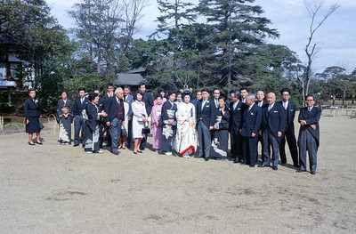 Some Kodaka wedding party and guests. Bob Fujisawa, Sam Matsuoka, Tom Kubo, Mr. Endo of TEL President and Staff-1966