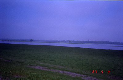 Looking at the eastern shore of the Elbe which is the DDR.
