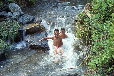 Ron and Emile 'enjoying' sitting in a freezing mountain stream in Hajiochi area, Japan.