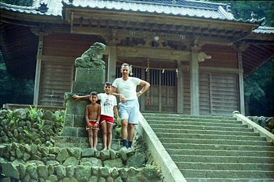 Dad, Ron & Emile at a local temple in the countryside around Kofu, Japan. '65-'66.
