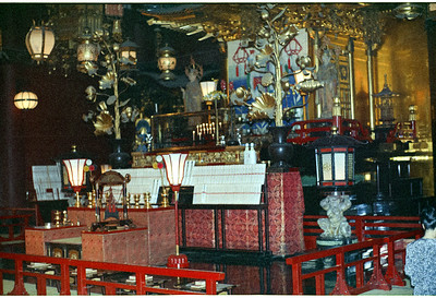 An interior view of a shrine in the Japanese countryside. '65-'66