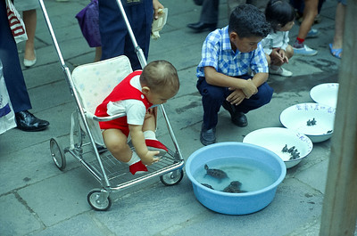 David intrigued with the strange animals which he is seeing for the first time!  With Emile at a sidewalk vendor .  Tokyo, '65-'66