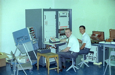 Fairchild engineer Gib Hattery and Tokyo Electron technician 'Tak' Takahashi at NEC Semiconductor, Tokyo, Japan. '66
