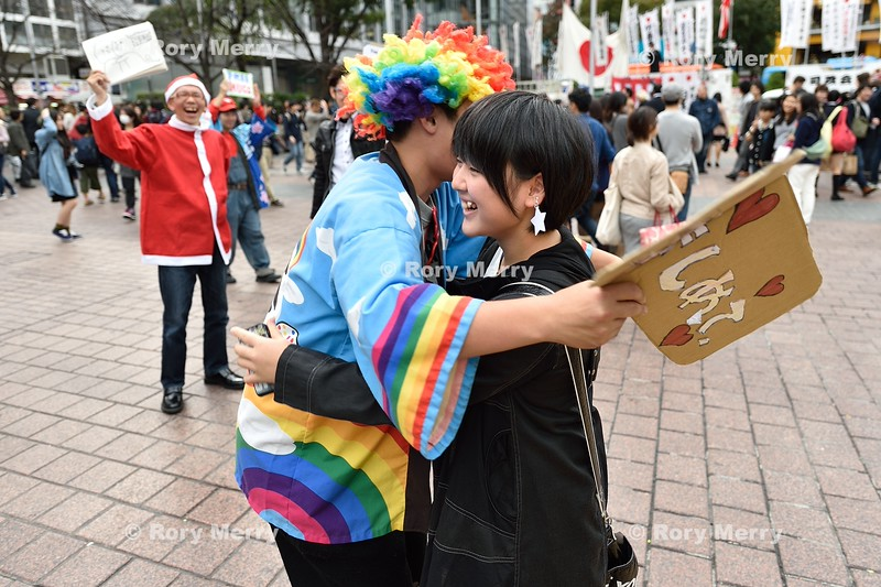 Free Hugs Stopped at Shibuya Crossing
