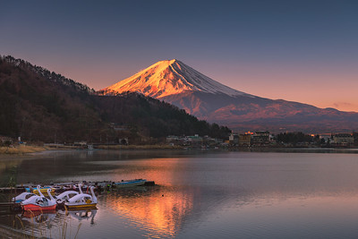 First Light Hitting the Summit of Mount Fuji at Lake Kawaguchi