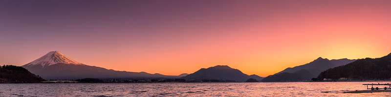 Last light on Mount Fuji and Lake Kawaguchi