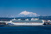 The Diamond Princess cruise ship and Mt. Iwaki at the port of Aomori, northern Japan, Tōhoku region.
