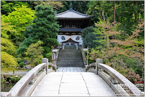 A bridge in the garden at the Chion-in Temple in Kyoto, Japan.