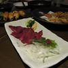 馬刺し (ばさし basashi), or horse meat sashimi
