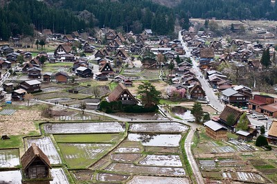 View of Shirakawago village from hilltop