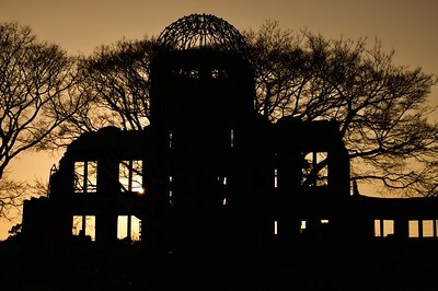 Sunset at A-bomb (Genbaku) dome on Jan 1, 2017