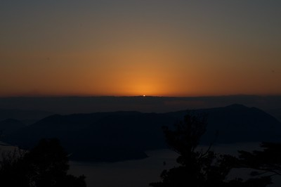 Mt Misen - sun peeping over the horizon on Jan 1, 2017