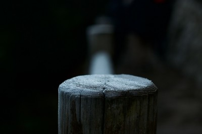 Overnight snow flakes still remained on wooden railings along the trek