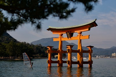 Famed torii at Miyajima during high tide