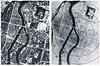Hiroshima before and after, Mon 6 August 1945.  The black circles are 1000 feet from ground zero, marked by X and close to what is now called the Atomic Bomb Dome.  Today's Peace Memorial Park is at centre, at the top end of the strip of land between two rivers.  The bomb had a yield of 15 kilotons.  Today it would be considered a tactical nuclear weapon, far smaller than strategic nuclear weapons.