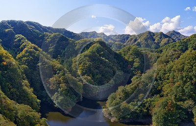 Hitachiota Ibaraki Ryujin Suspension Bridge Autumn Viewpoint Panorama Fine Art Prints For Sale - 013949 - 30-10-2013 - 10674x6857 Pixel