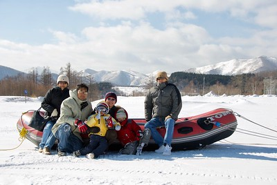 Family photo after an exciting snow rafting, Sahoro Resort