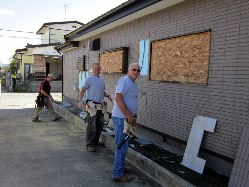 .........R-L.....John Corley,  Joel Corley and Bob Bodnar  working on the Soon to be Church in that area