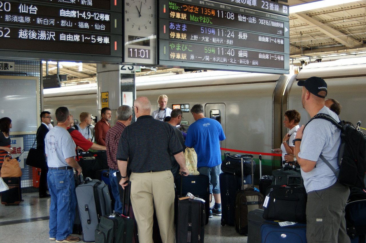 Photo By Bob Bodnar.................................Our group with a group from Canada, waiting for the train