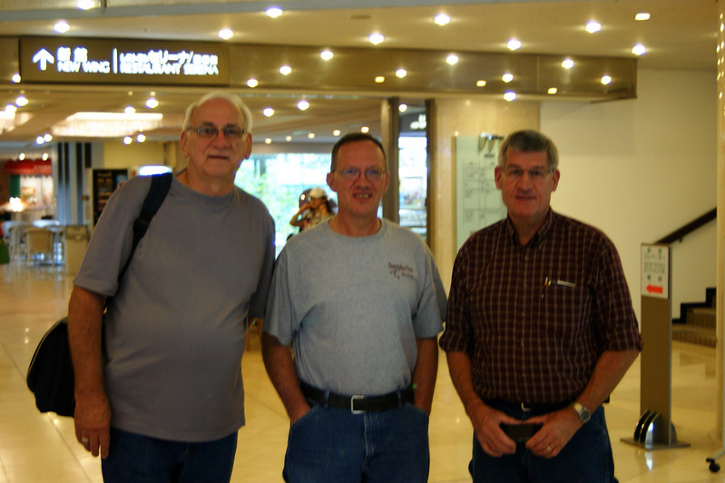 Photo By Ed Drury.................... Bob Bodnar, Syl Yoder, and John Corley in hotel lobby, Japan