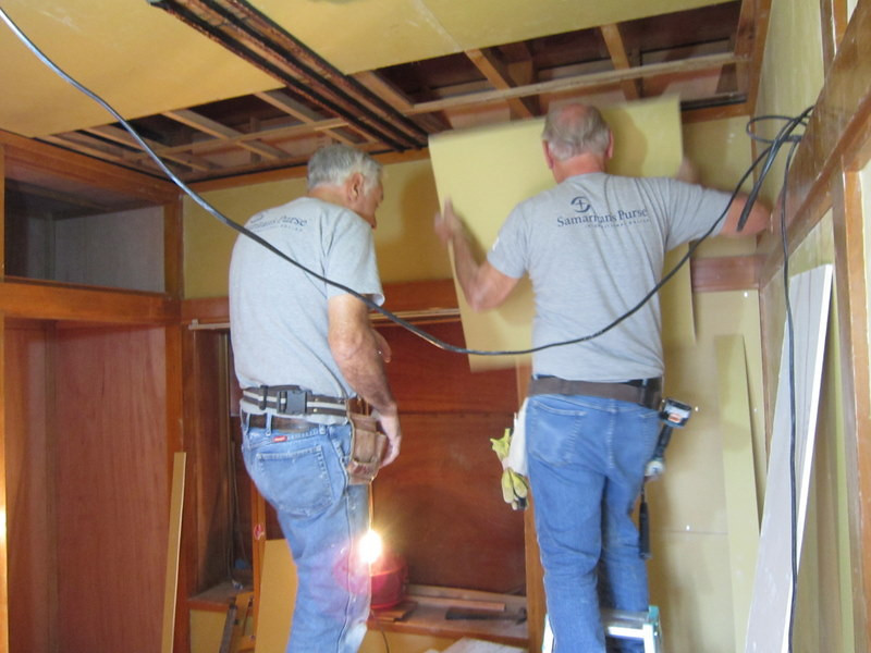Photo Taken By ?...........................John Hendrick and Bob Bodnar Hanging Drywall