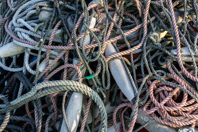 Tangled ropes and floats, Naruto Harbour, Shikoku Island, Japan