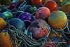 'Christmas' globes<br /> <br /> Fishing floats and ropes, Topaz Glow, Naruto Harbour, Shikoku Island, Japan