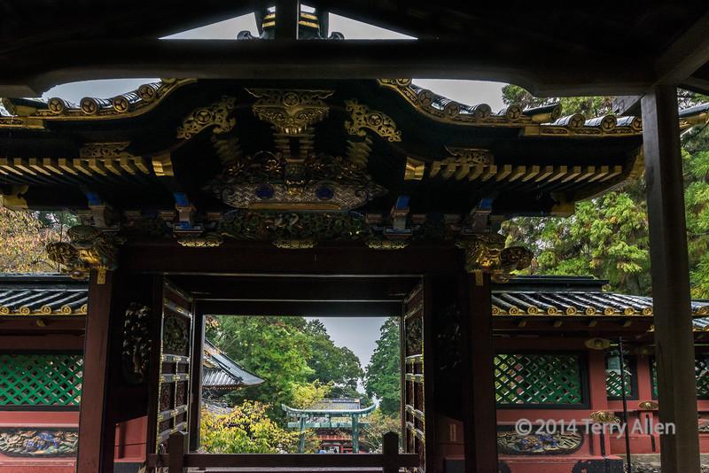 Looking out into the shrine complex, Kunōzan Tōshō-gū Shinto Shrine, Shizuoka, Japan