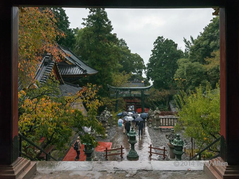 Line of umbrellas heading down from the Kunōzan Tōshō-gū Shinto Shrine, Shizuoka, Japan