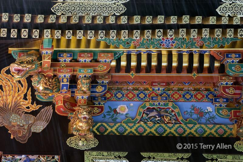 Close-up of the shrine decorations in the rain<br /> <br /> Sengen Jinja, Mount Shizuhata, Shizuoka, Japan