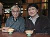 Naoto-and-Tatsu-at-restaurant,-Shizuoka,-Japan