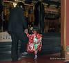 Small girl in traditional dress being taken to the shrine by her father<br /> <br /> Kunōzan Tōshō-gū Shinto Shrine, Shizuoka, Japan