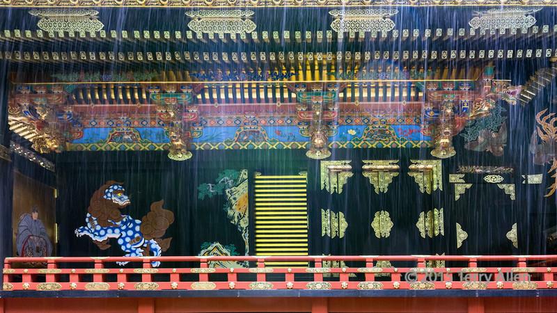 Momoyama period decorations in the pouring rain, Sengen Jinja, Mount Shizuata, Shizuoka, Japan