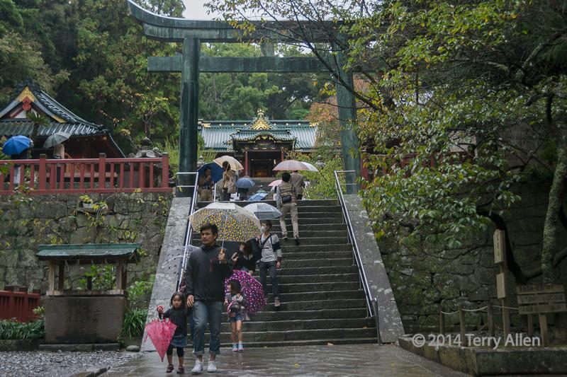 People with umbrellas climbing the stairs to the Kunōzan Tōshō-gū Shinto Shrine in the rain,  Shizuoka, Japan