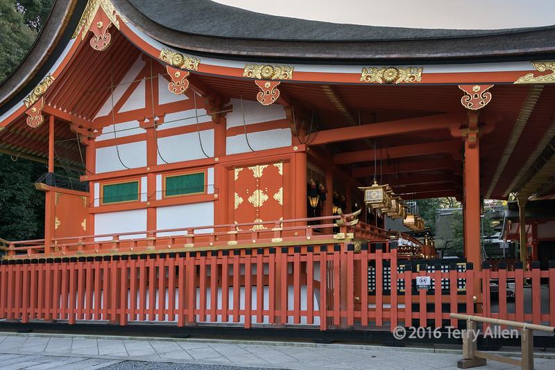 Main shrine (Honden), Fushimi Inari Taisha Shinto Shrine, Kyoto, Japan