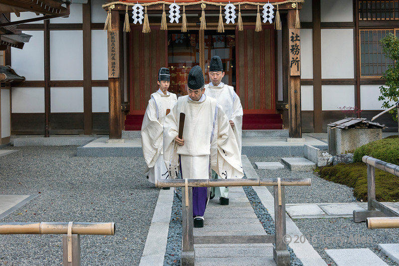 Shinto priests at Fushimi Inari Shrine, Kyoto, Japan