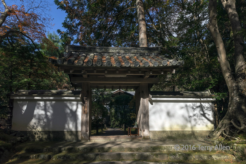 Fallen leaves, light and shadows on a gateway at Jizo-in Buddhist temple, Kyoto, Japan