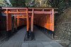 Double set of torii gates near the top of Inari Mountain, Fushimi Inari Taisha, Kyoto, Japan