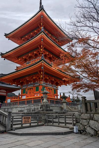 Three story pagoda, Kiyomizudera Buddhist temple, Kyoto, Japan