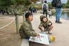 Young artists at work, Matsumoto Castle, Nagano, Japan