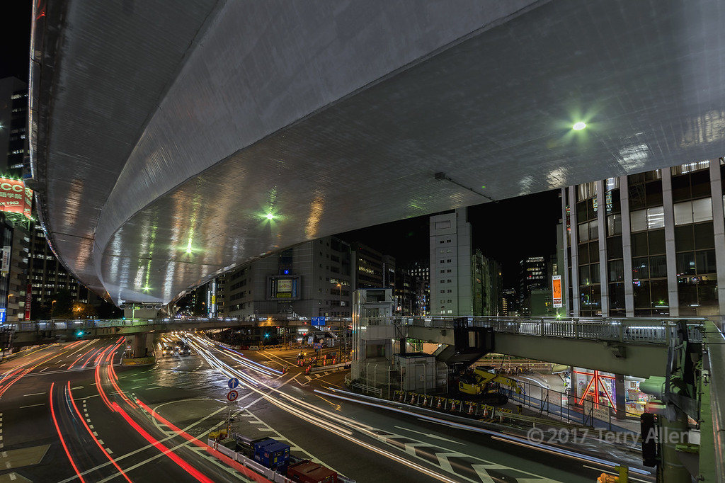Overpass and traffic at night, Shinjuku, Tokyo, Japan