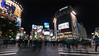 Busy pedestrian crosswalk and city lights, Shinjuku, Tokyo, Japan