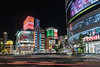 Night lights and traffic in Shinjuku, Tokyo, Japan