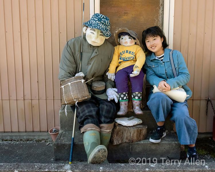 Posing with kakashi dolls
